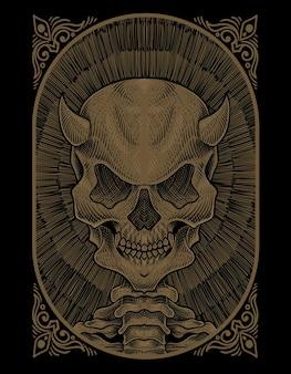 Ilustracja demona czaszki w stylu grawerowania