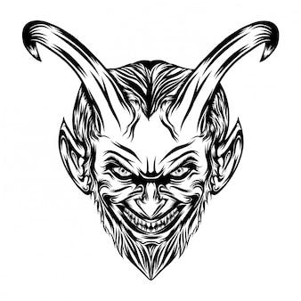 Ilustracja demonów z przerażoną twarzą i blaskiem oczu