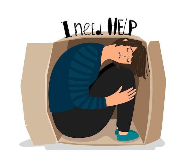 Ilustracja depresja dziewczyna