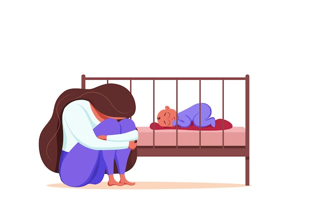 Ilustracja depresja poporodowa smutnej zmęczonej kobiety w pobliżu noworodka śpiącego w stylu płaski.