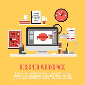 Ilustracja designer workspace