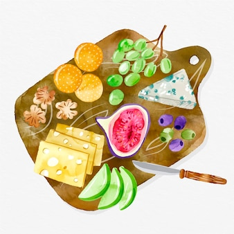 Ilustracja deska serów akwarela