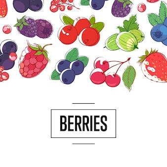Ilustracja detaliczna świeże jagody
