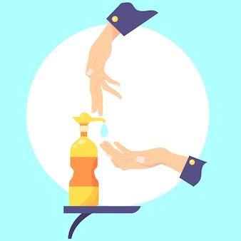 Ilustracja dezynfekcji dłoni płaska konstrukcja
