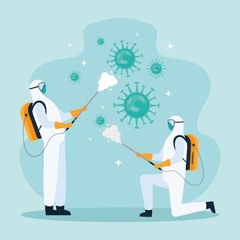 Ilustracja dezynfekująca pracowników ubranych w skafander biologiczny