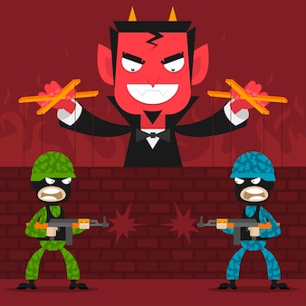 Ilustracja diabeł kontroluje marionetki żołnierzy, format eps 10