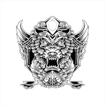 Ilustracja diamentowa głowa lwa