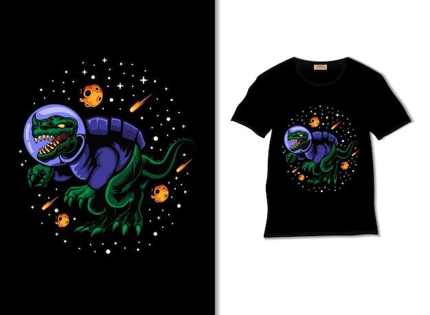 Ilustracja dinozaura kosmicznego z projektem koszulki