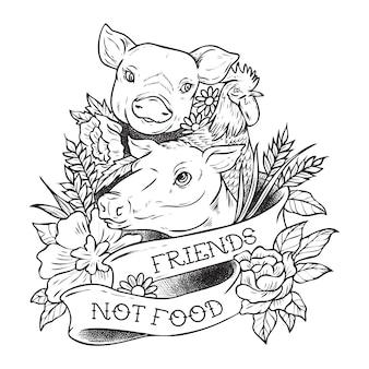 Ilustracja dla zwierząt wegańskich to przyjaciele, a nie jedzenie