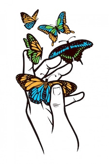 Ilustracja dłoni i motyli