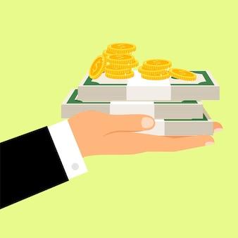 Ilustracja dłoni i pieniędzy