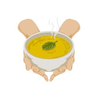 Ilustracja dłoni z miską zupy