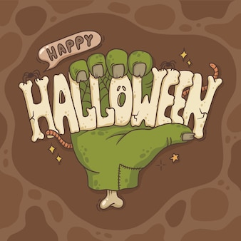 Ilustracja dłoni z napisem halloween
