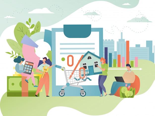 Ilustracja długu hipotecznego. mortgagor z hipotekowanym domem. umowa pożyczki nieruchomości. koncepcja kredytu na nieruchomości.