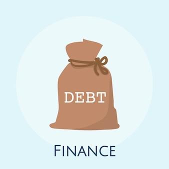 Ilustracja długu pieniężny pojęcie