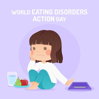 Ilustracja dnia akcji zaburzeń odżywiania płaskiego świata