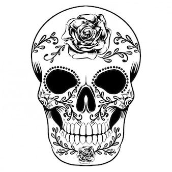 Ilustracja dnia martwej czaszki pełnej dużych róż