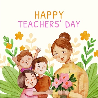 Ilustracja dnia nauczyciela akwarela