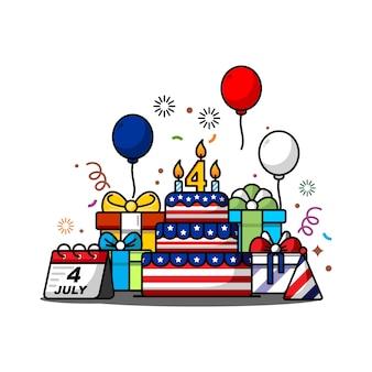 Ilustracja dnia niepodległości 4 lipca z motywem amerykańskiej flagi, balonów, sylwetki na tle nieba i prezentów urodzinowych