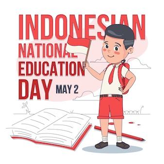 Ilustracja dnia płaskiej edukacji narodowej indonezyjskiej