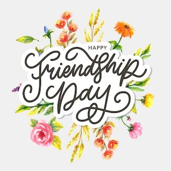 Ilustracja dnia przyjaźni z tekstem i elementami na obchody dnia przyjaźni 2020