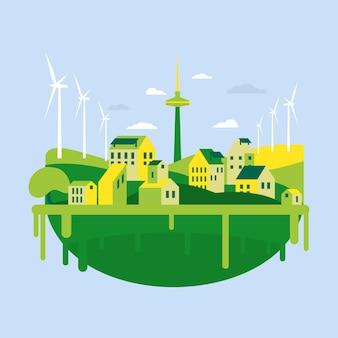 Ilustracja dnia siedliska z zielonym miastem w płaskiej konstrukcji
