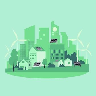 Ilustracja dnia siedliska z zielonym miastem