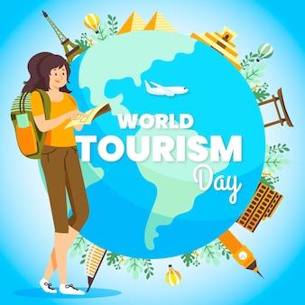 Ilustracja dnia turystyki z kobietą z plecakiem i kulą ziemską