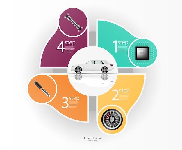 Ilustracja do diagnostyki samochodowej. amortyzator, komputer pokładowy, koła, gimbal. infografiki samochodu.
