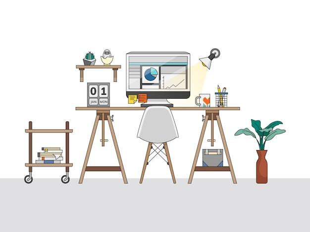 Ilustracja do domu w biurze pracy