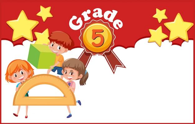 Ilustracja do klasy 5 z trójką szczęśliwych dzieci