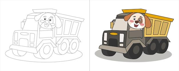 Ilustracja do kolorowania dla dzieci pies jazdy ciężarówką
