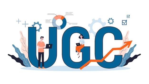 Ilustracja do koncepcji ugc. kampania treści generowanych przez użytkowników, marketing treści, komunikacja medialna, sieć społecznościowa.