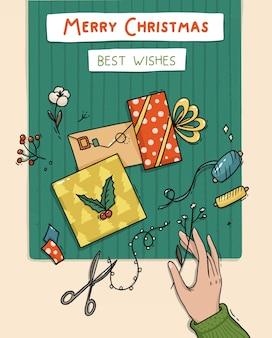 Ilustracja do pakowania prezentów i kartek świątecznych