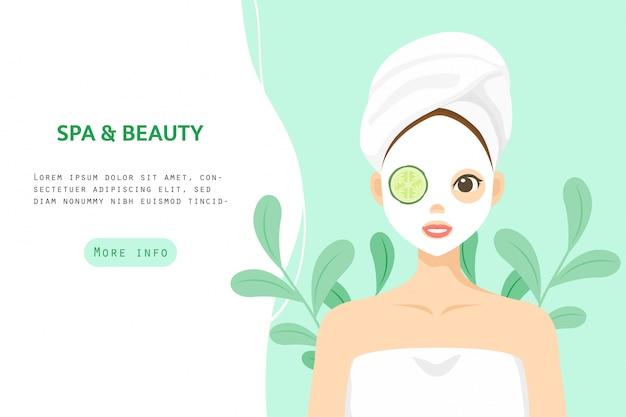 Ilustracja do pielęgnacji skóry postaci, zdrowe, kosmetyczne, transparent piękna kobieta wektor znaków
