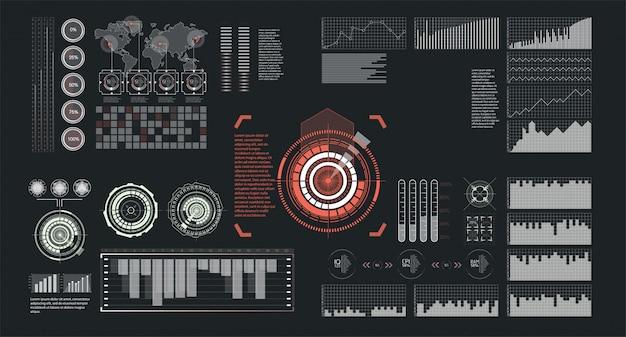 Ilustracja do projektowania. zestaw na białym tle futurystyczny interfejs ekranu hud. biznesowa ilustracja. ilustracja na białym tle.