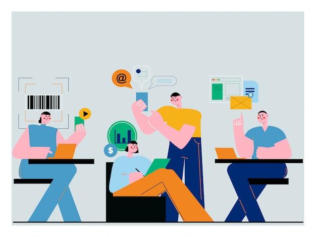 Ilustracja do przestrzeni coworkingowej z kreatywnymi ludźmi