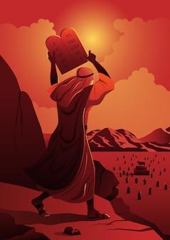 Ilustracja do serii biblijnych mojżesza i dziesięciu przykazań