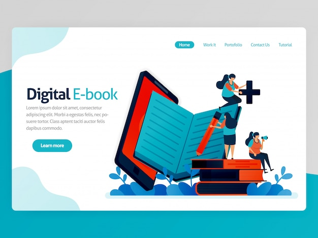 Ilustracja do strony docelowej ebooka cyfrowego. aplikacje mobilne do czytania, pisania, nauki. nowoczesna platforma biblioteczna. nauka online, edukacja językowa.