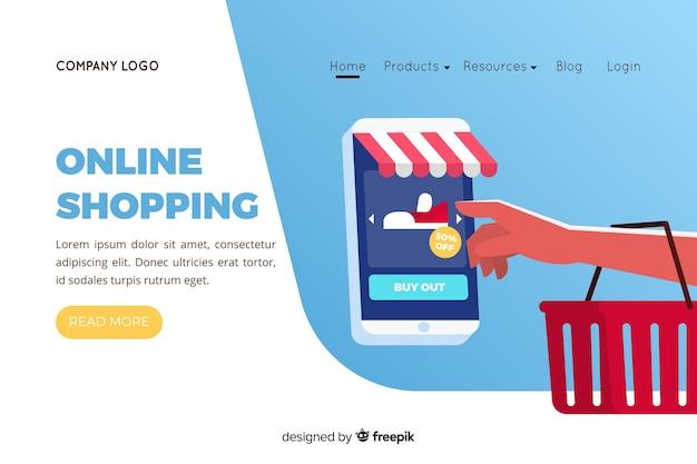 Ilustracja do strony docelowej z koncepcją zakupów online