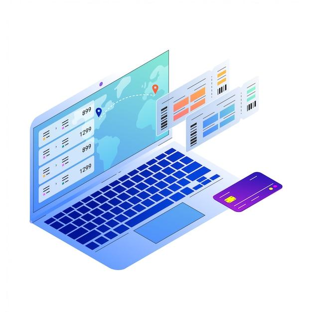 Ilustracja do zakupu biletów lotniczych online, otwartego notatnika i karty pokładowej oraz karty kredytowej.