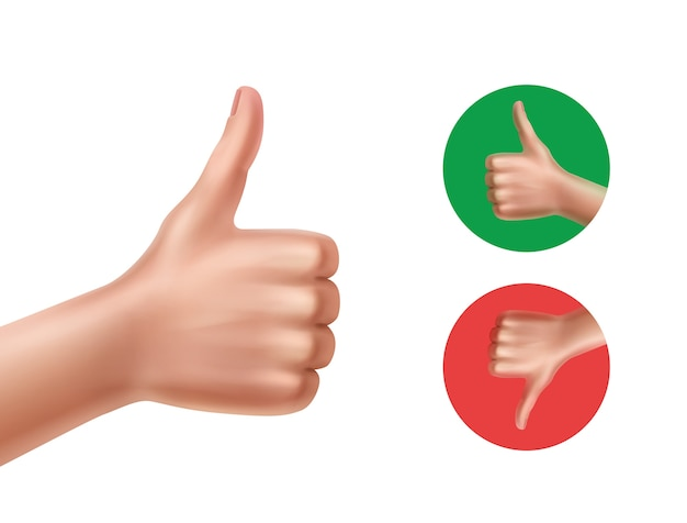 Ilustracja dobra i zła z rękami pokazującymi kciuki w górę iw dół