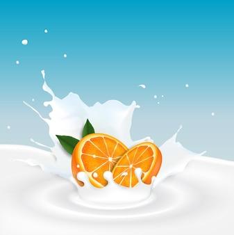 Ilustracja dojny pluśnięcie z pomarańczową owoc