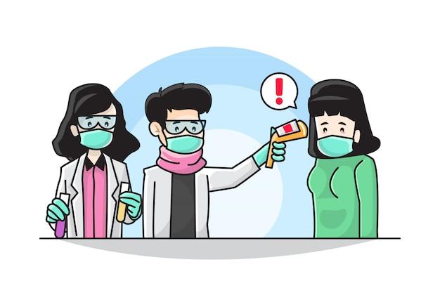 Ilustracja doktora robi skanerowi termicznemu coronavirus covid-19 pojęcie zapobiegawcze