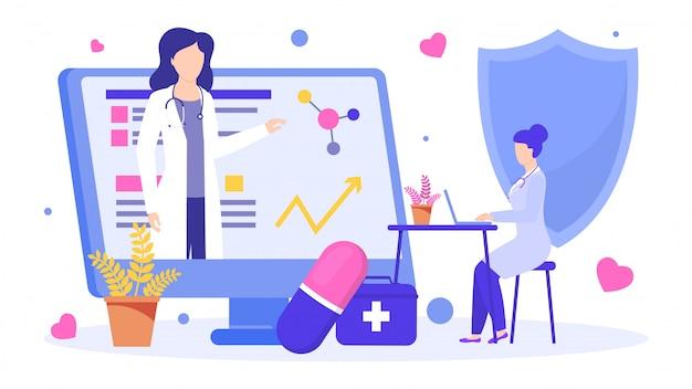 Ilustracja doktora wykształconego online, prowadząca wykład naukowy dla mentorów medycznych.