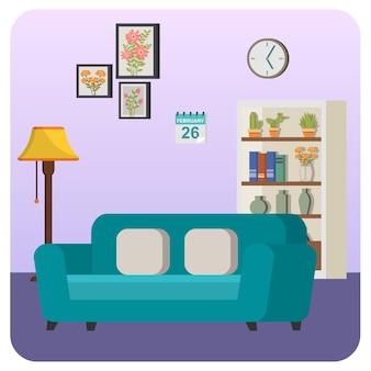 Ilustracja dom pokój dzienny