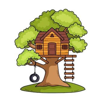 Ilustracja domek na drzewie