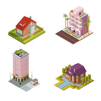 Ilustracja domów izometrycznych