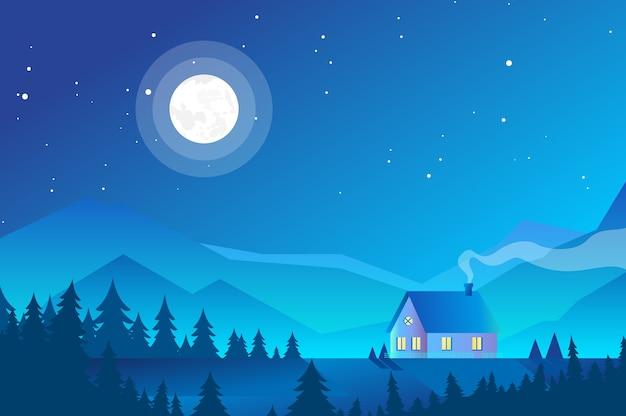 Ilustracja domu w górach, krajobraz lasu w nocy ze światłem