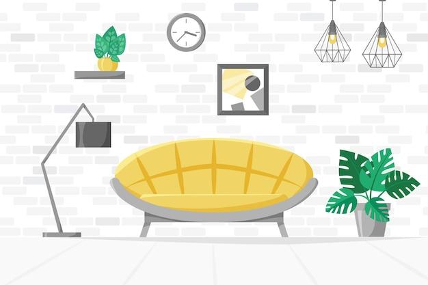 Ilustracja domu w salonie z roślinami domowymi na kanapie w doniczkach nowoczesny wektor wnętrza